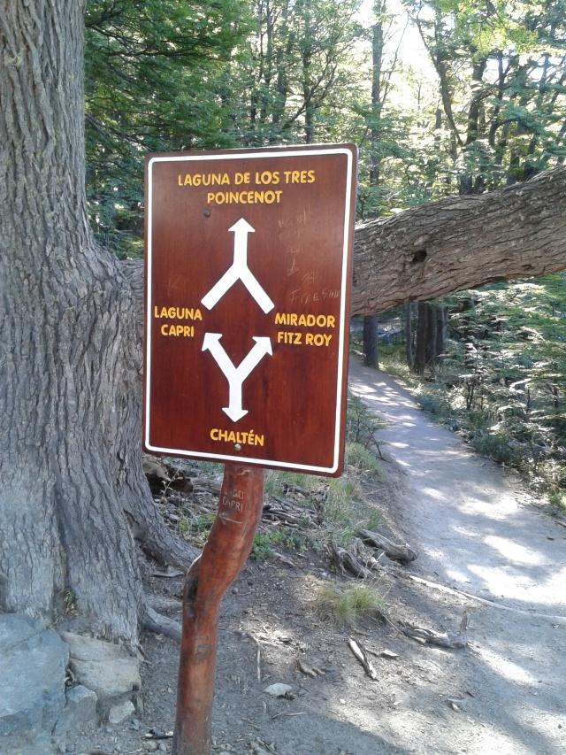 rozwidlenie szlaków na trasie Laguna de Los Tres do El Chalten przez Laguna Capri